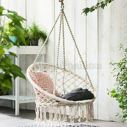 Hanging Cotton Rope Macrame Hammock Chair Swing Outdoor Home