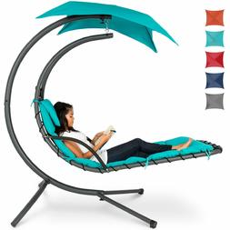 Hanging Curved Chaise Lounge Chair w/ Built-In Pillow, Remov