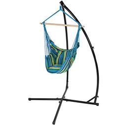 Sunnydaze Hanging Hammock Chair Swing and X-Stand Set, Ocean
