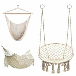 Hanging Macrame Hammock Chair Hammock Swing Bed Cotton Seat