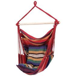 Flexzion Hanging Rope Chair Red Portable Canvas Striped Swin