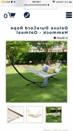 HATTERAS HAMMOCK DELUXE DURACORD ROPE OATMEAL WITH STAND BRA