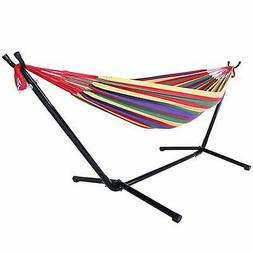 Hot Space Saving Steel Stand with Double Hammock and Portabl
