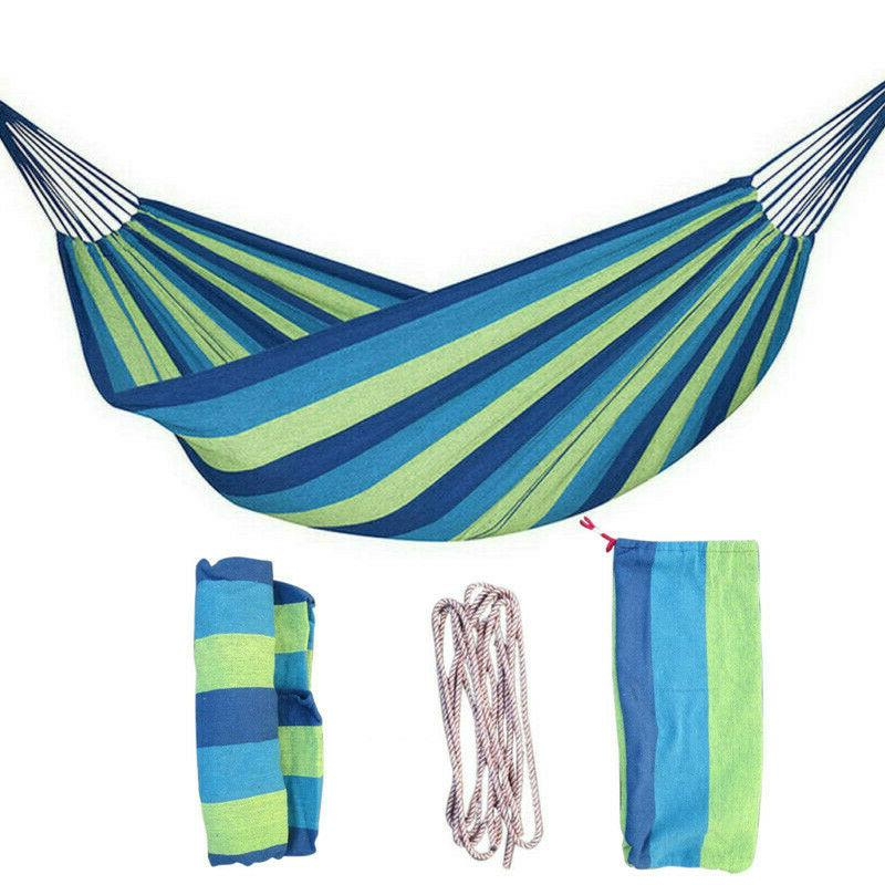 2 Person Cotton Rope Camping Hammock Swing Canvas