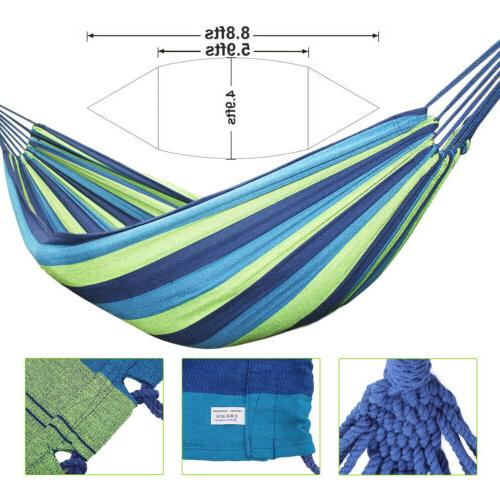 Double Hammock 2 Person Outdoor Canvas Fabric Camping Hanging Bed
