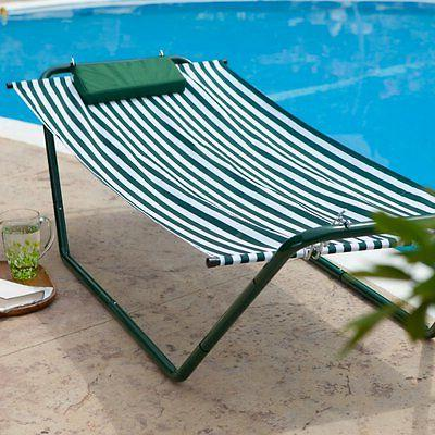 Algoma 4-Point Single Hammock Lounger, Hunter Green Stripe &