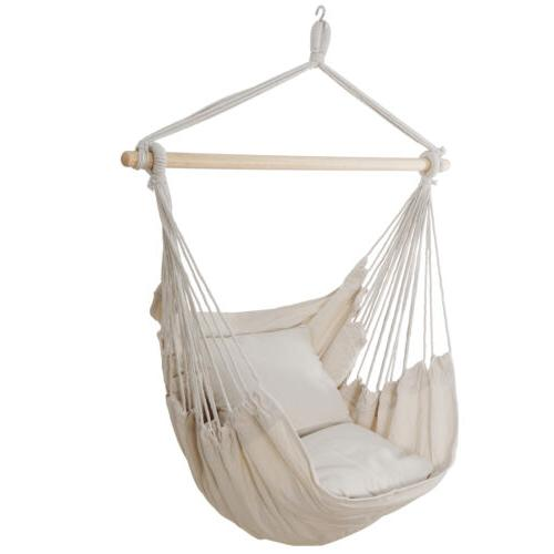 Beige Hammock Hanging Chair Swing Seat Camping with 2