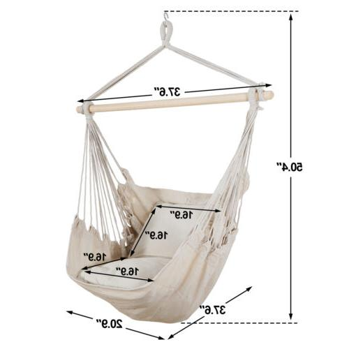 Beige Hammock Chair Camping with 2