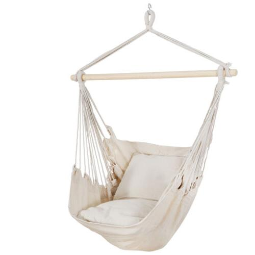 Beige Hammock Hanging Chair Seat Camping with 2
