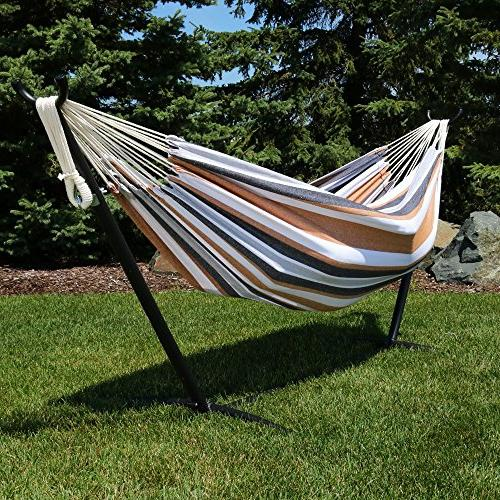 Sunnydaze Brazilian Hammock with Stand Pouch, 2 Bed - for or Patio, and Porch