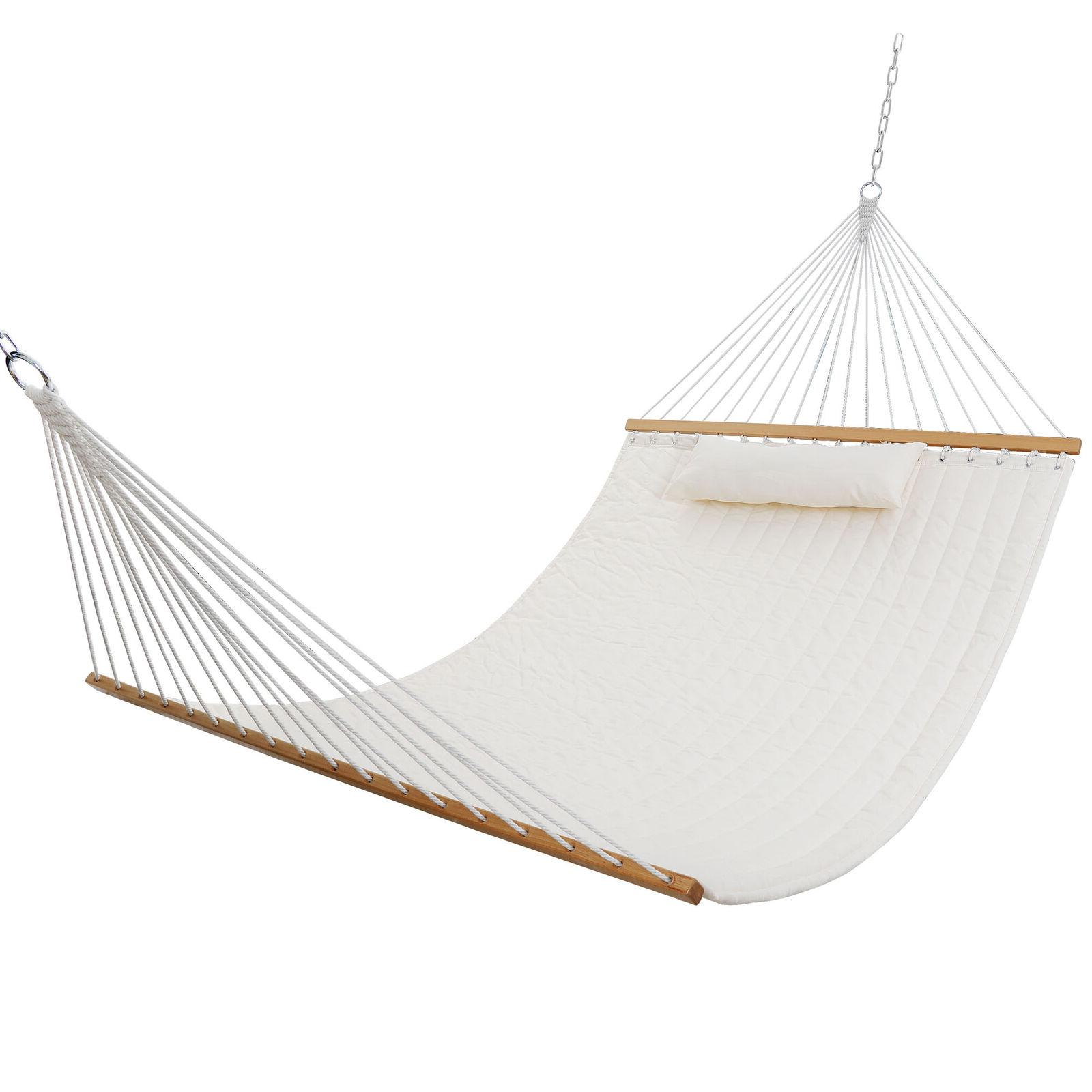 Double Hammock Quilted Fabric W/ 2 Person White