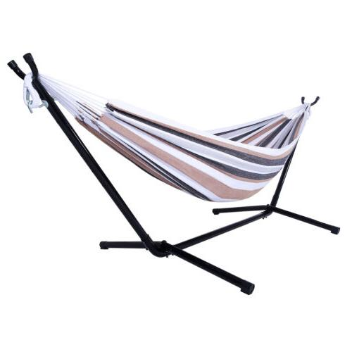 Double Swing Hammock Bed Chair with Steel Stand Camping Port