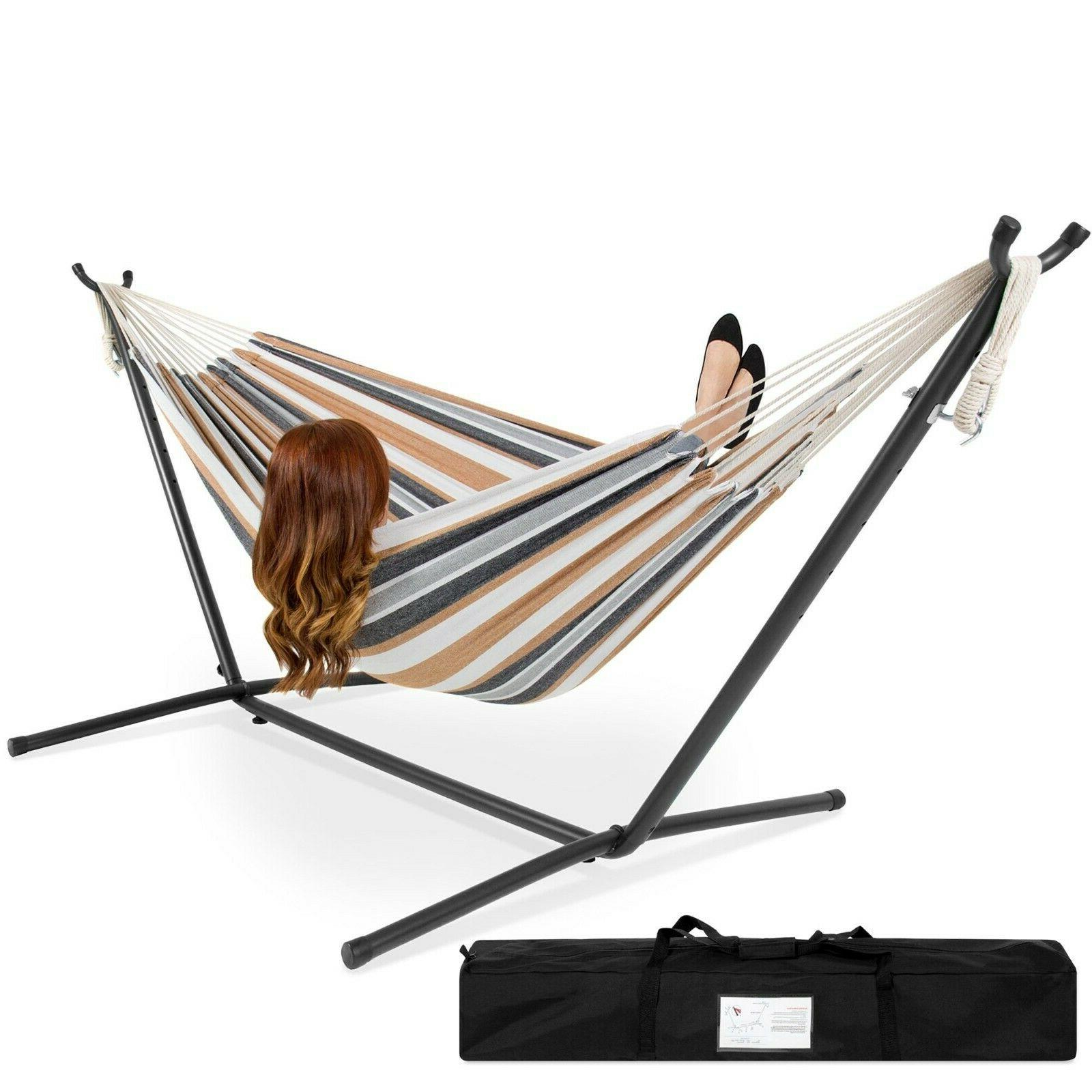 Double Hammock With Set Accessories Outdoor Porch Patio Swin