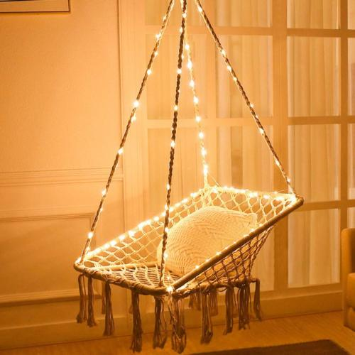KINDEN Hammock Chair with Lights - Cotton Square Shape for P