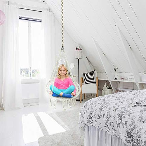 Hammock Swing Chair 2-16 Years Old Knitted Chair Indoor,Bedroom,Yard,Garden- Pound