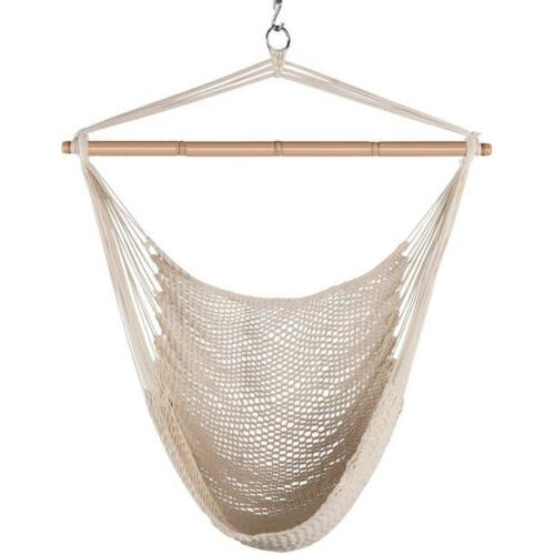 Hammock Cotton Swing Camping Hanging Rope Net Chair Seat Woo
