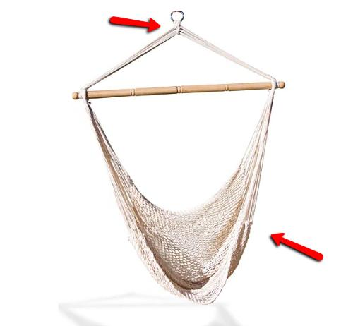 Hammock Net Chair Natural-colored Cotton Blend Rope Comfort