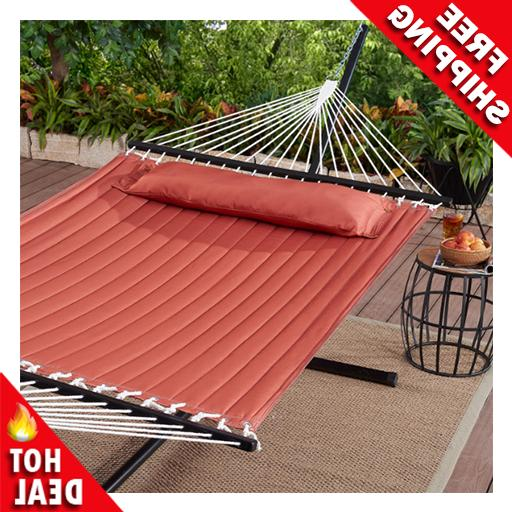 outdoor camping quilted double hammock w pillow