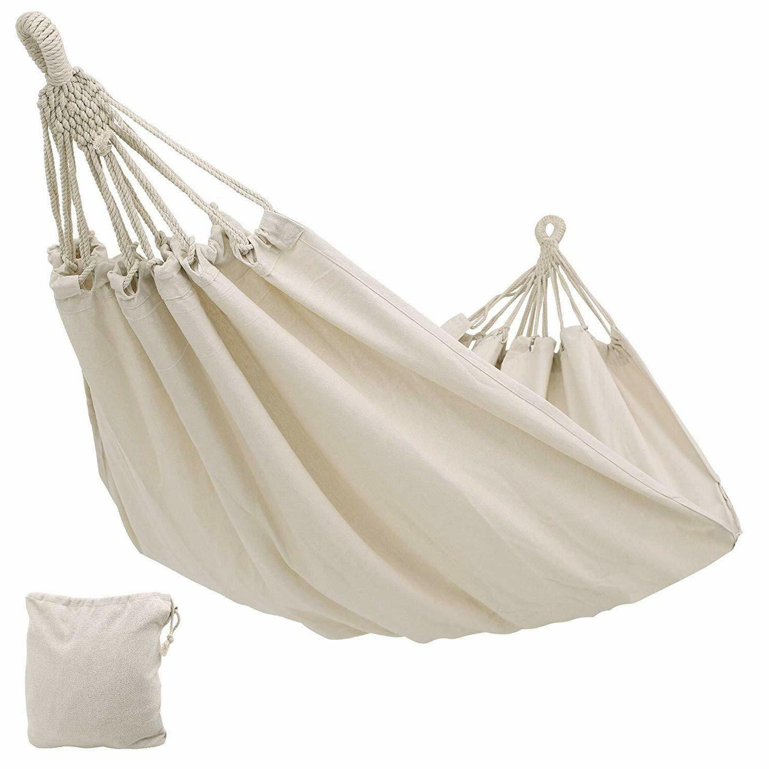 Double Camping Fabric Canvas Hammock Hanging Swing Bed for P