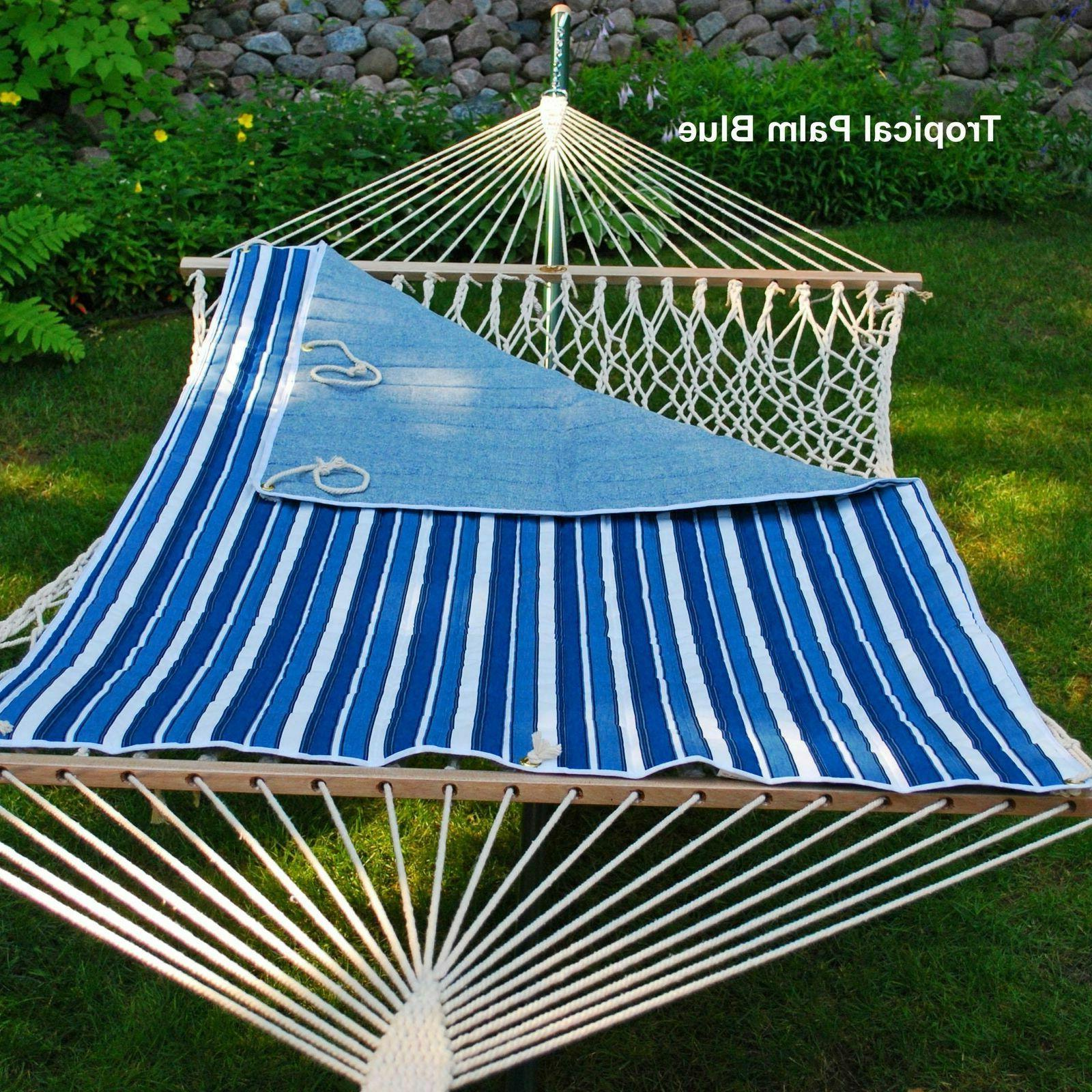 reversible quilted hammock pad blue white stripe