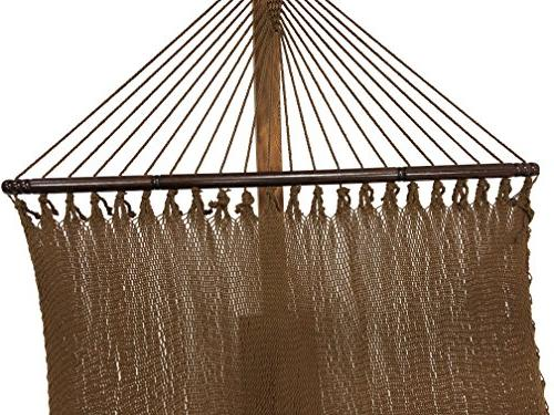 Petra Leisure 14 Teak Stand Deluxe Woven Brown Rope Hammock Person 450 LB