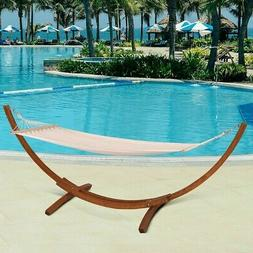 Large Patio Hammock Outdoor Wooden Curved Arc Stand Heavy Du