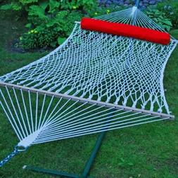 Algoma Net 13' Cotton Rope Hammock w/Pillow and Hangers, New