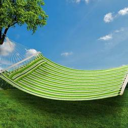 New Green Hammock Fabric With Pillow Spreader Bar Hang Bed H