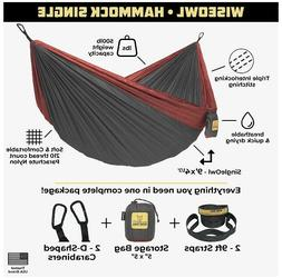 "NEW Wise Owl Outfitters Hammock 9' x 4.6"" Grey/Red 400 l"