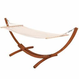 New Outdoor Wooden Curved Arc Hammock Stand with Cotton Hamm