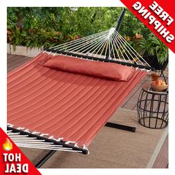 Outdoor Camping Quilted Double Hammock w/ Pillow 445 lb Capa