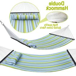 Outdoor Double Hammock Quilted Fabric Sleeping Bed Swing Han