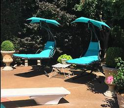 Outdoor Hanging Curved Chaise Lounge Chair Swing Cushion Can