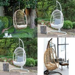Outdoor Hanging Egg Chair with Cushion and Stand Patio Porch