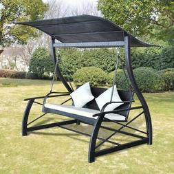 vidaXL Outdoor Swing Bench Poly Rattan Wicker Black Hammock