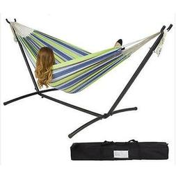 Outdoor Swing Chair Double Hammock with Steel Stand Camping
