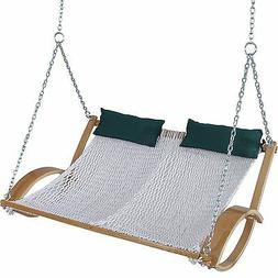 Pawleys Island Hammock Double Curved Arm Oak Classic Rope Sw