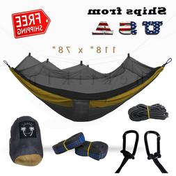 Portable Double Hammock with Mosquito Net for Outdoor Campin