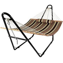 Sunnydaze Quilted Double Fabric 2-Person Hammock with Multi-