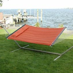 Bliss Hammocks Quilted Double Hammock with Pillow