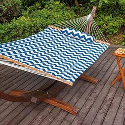 Lazy Daze Hammocks Quilted Fabric Hammock with Hardwood Spre