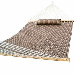 Quilted Fabric Hammock with Pillow, Hardwood Spreader Bars,