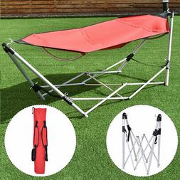 Red Portable Folding Hammock Lounge Camping Bed Steel Frame