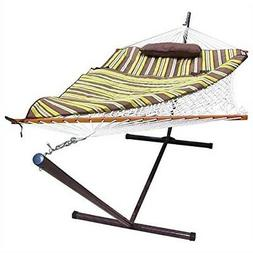 Rope Hammock Set with Stand Pad and Pillow 55 x 144-inch - D