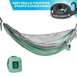 Single & Double Camping Hammock With Tree Straps Portable Pa