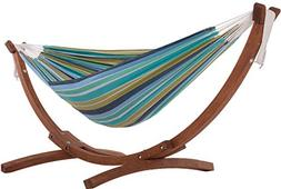Vivere Solid Pine Wood Hammock Combo, Cay Reef
