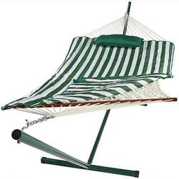 Striped Hammock with Steel Stand, Pad and Pillow-275 Pound C
