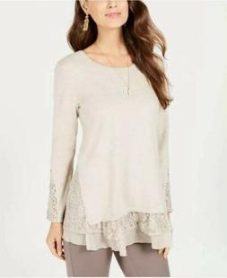 Style & Co Womens Top Hammock Heather Taupe Lace Long Sleeve