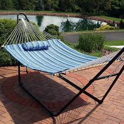Sunnydaze Cotton Quilted Hammock Pad and Pillow - Breakwater