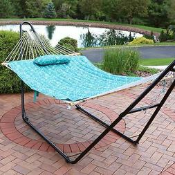 Sunnydaze Cotton Quilted Hammock Pad and Pillow - Cool Blue